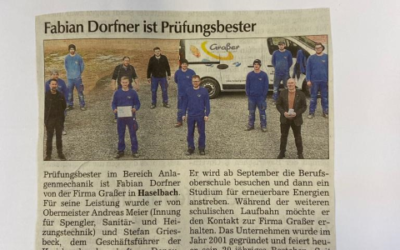 Fabian Dorfner ist Prüfungsbester im Bereich Anlagenmechanik