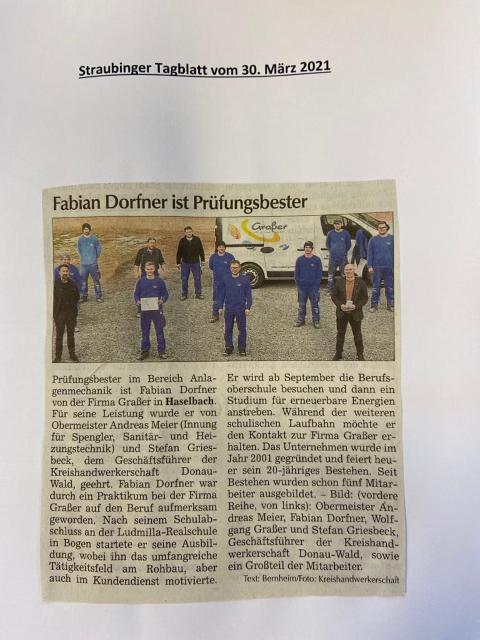 Straubinger Tagblatt, Fabian Dorfner ist Prüfungsbester im Bereich Anlagenmechanik