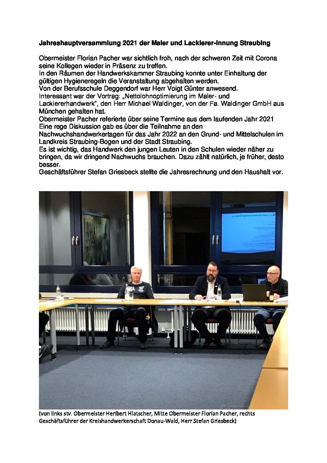 Jahreshauptversammlung der Maler- und Lackierer-Innung Straubing